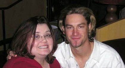 This is me with Bronson Arroyo in 2006 at the first New Stars for Young Stars event. My little heart...