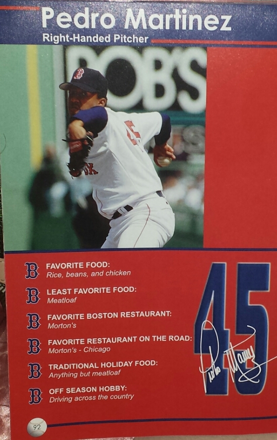 In 2001 you could use this book to stalk players at their favorite restaurants in Boston and on the road!